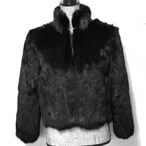Vintage Black Rabbit Fur Coat Jacket Zip Up